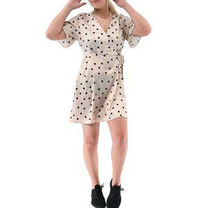 NASTY GAL Satin Polka Dot Tie Waist Dress #BT3